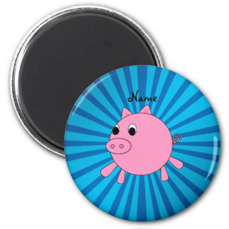 Personalized name pink pig blue sunburst 2 inch round magnet
