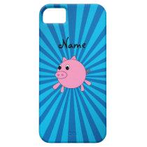 Personalized name pink pig blue sunburst iPhone SE/5/5s case