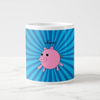 Personalized name pink pig blue sunburst large coffee mug
