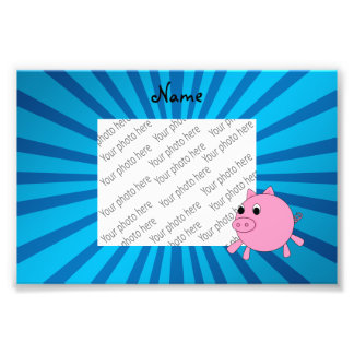 Personalized name pink pig blue sunburst photographic print