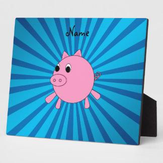 Personalized name pink pig blue sunburst display plaque