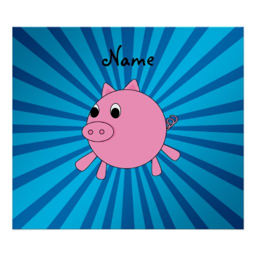 Personalized name pink pig blue sunburst poster