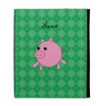 Personalized name pink pig green argyle iPad folio cover