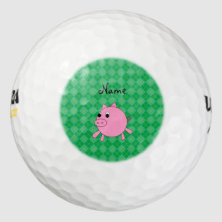 Personalized name pink pig green argyle pack of golf balls