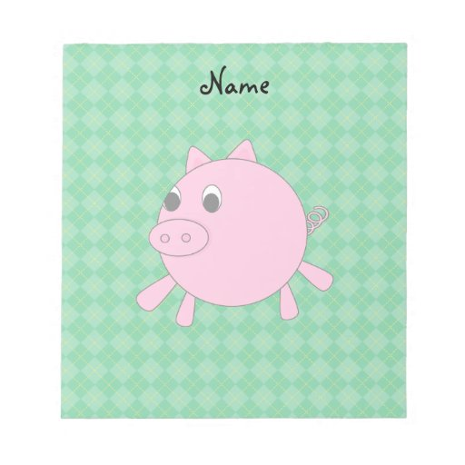 Personalized name pink pig green argyle scratch pads