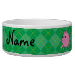Personalized name pink pig green argyle dog water bowl