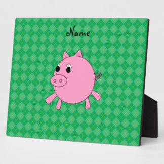 Personalized name pink pig green argyle photo plaques