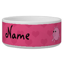 Personalized name pink pig hearts bowl