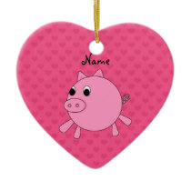 Personalized name pink pig hearts ceramic ornament