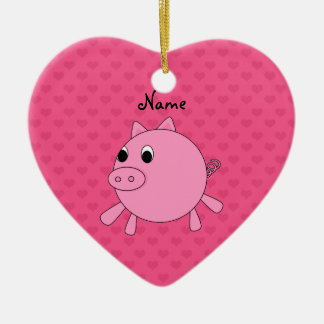 Personalized name pink pig hearts Double-Sided heart ceramic christmas ornament