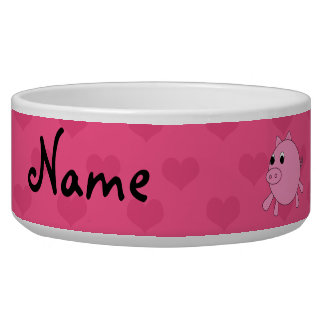 Personalized name pink pig hearts dog food bowl