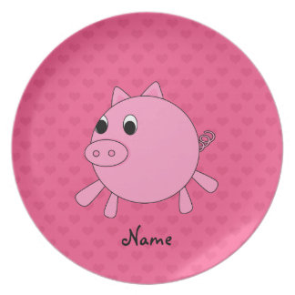 Personalized name pink pig hearts party plate