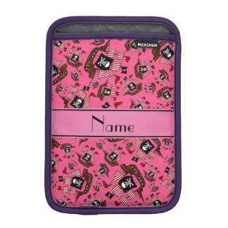 Personalized name pink pirate ships iPad mini sleeves