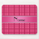 Personalized name pink plaid pattern mouse pad