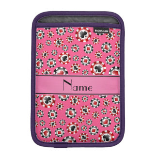 Personalized name pink poker chips iPad mini sleeve