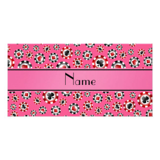 Personalized name pink poker chips personalized photo card