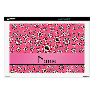 Personalized name pink poker chips skin for laptop