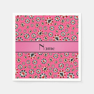 Personalized name pink poker chips paper napkins