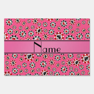 Personalized name pink poker chips yard signs