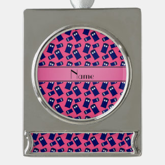 Personalized name pink police box silver plated banner ornament