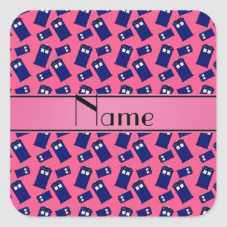 Personalized name pink police box sticker