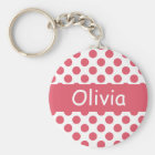 Personalized Name Pink Polka Dots Keychains