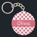"Personalized Name Pink Polka Dots Keychains<br><div class=""desc"">Matching Button, Plates, etc... available in my Shop:) Thanks!:)</div>"