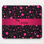 Personalized name pink polka dots mouse pad