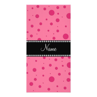 Personalized name pink polka dots photo card