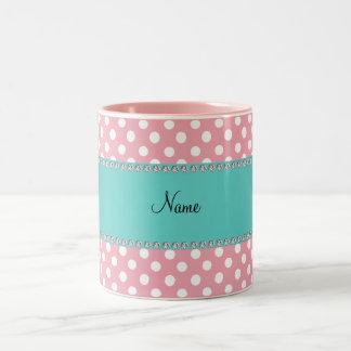 Personalized name pink polka dots turquoise stripe Two-Tone coffee mug