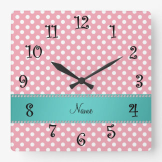 Personalized name pink polka dots turquoise stripe square wall clock