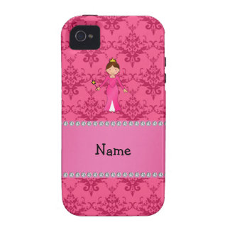 Personalized name pink princess pink damask vibe iPhone 4 case