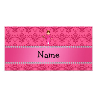 Personalized name pink princess pink damask photo cards