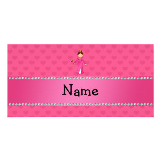 Personalized name pink princess pink hearts personalized photo card