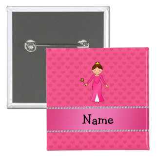 Personalized name pink princess pink hearts pinback button