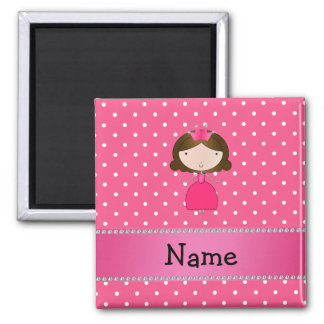 Personalized name pink princess pink polka dots 2 inch square magnet