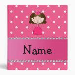 Personalized name pink princess pink polka dots vinyl binder