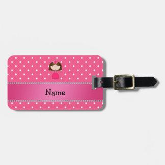 Personalized name pink princess pink polka dots luggage tags