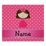Personalized name pink princess pink polka dots posters