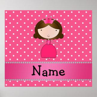 Personalized name pink princess pink polka dots poster