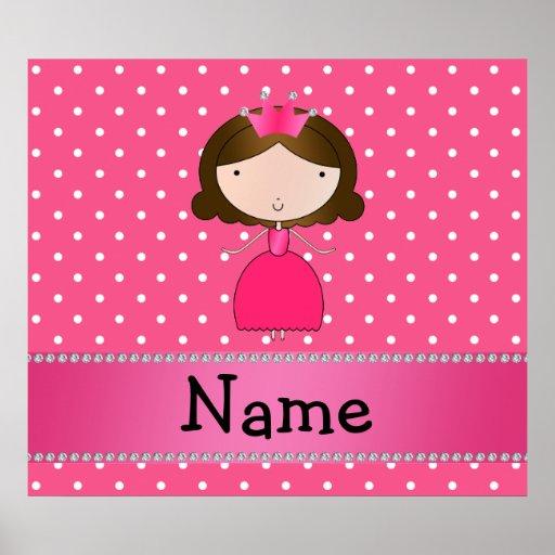 Personalized name pink princess pink polka dots posters