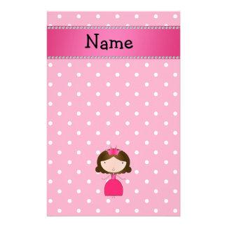 Personalized name pink princess pink polka dots stationery