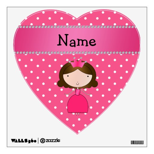 Personalized name pink princess pink polka dots room sticker