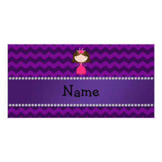 Personalized name pink princess purple chevrons custom photo card