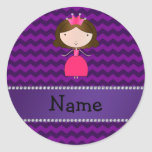 Personalized name pink princess purple chevrons stickers