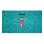 Personalized name pink princess turquoise glitter business cards