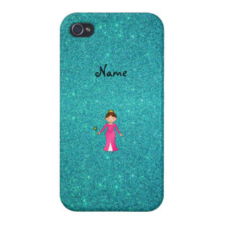 Personalized name pink princess turquoise glitter case for iPhone 4
