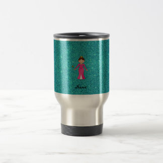 Personalized name pink princess turquoise glitter coffee mugs
