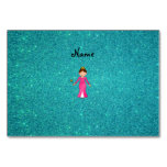 Personalized name pink princess turquoise glitter table card