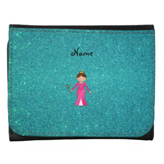 Personalized name pink princess turquoise glitter leather wallet